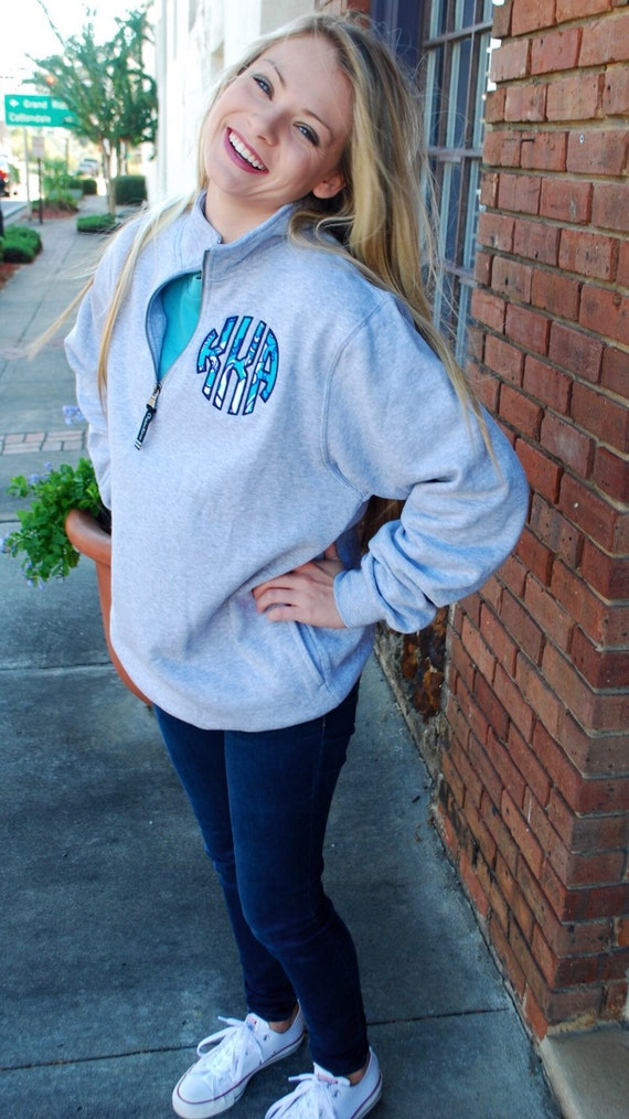preppy lilly pulitzer monogrammed quarter zip by tantrumembroidery
