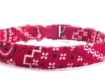 Red Bandanna Design Cowboy Cowgirl Country Dog Collar Extra Small Adjustable Dog Collar