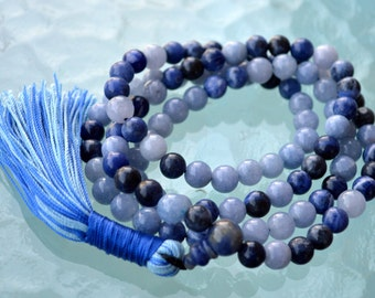 Fifth Throat Chakra Aquamarine Sodalite Lapis Lazuli Mala Beads For Communication Self Expression Creativity in Writing Speaking Listening