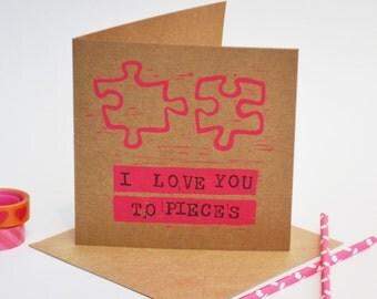 Block Printed 'Pieces' Card