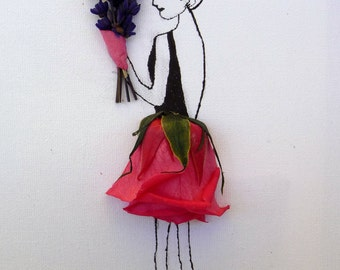 Preserved picture of woman with bouquet of lavender