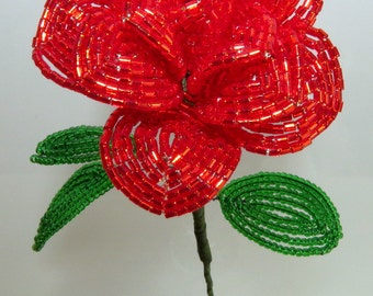 French Beaded Red Rose