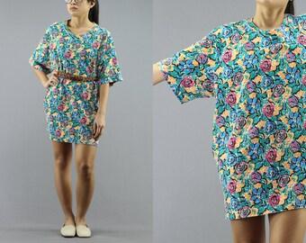 Floral Print Colorful Long T Shirt Dress Women's 90's Vintage
