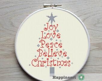 christmas cross stitch pattern, modern christmas tree, words, modern cross stitch, PDF, ** instant download**
