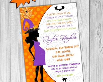 Halloween Baby shower invitation printable UPrint customized card by greenmelonstudios halloween witch goblin baby shower invite