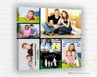 Family Collage, Personalized Pictures Gift Photo Collage Wedding Canvas Words Text Quote Sayings, Collage with words,