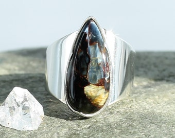 Silver ring with Pietersite. Size 6. Natural stone.
