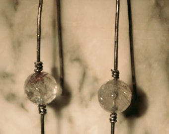 Sterling silver oxidised earrings with rutulated quartz beads