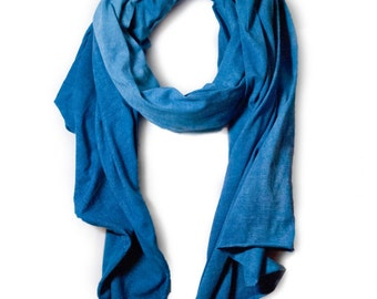 Indigo Cotton Jersey Scarf - Hand Dyed Scarf, Natural Indigo Scarf, Cotton Jersey Scarf, Blue Scarf, Dip Dyed Scarf, Naturally Dyed