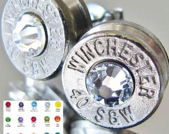 FREE SHIPPING!!! 40 S&W Winchester Bullet Earrings Choice Crystal Silver Nickel Gun Pistol Browning Buckmark Pendant Set Bottle Opener Avail