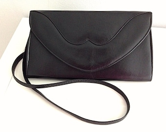 Vintage 80s Black Schoulder Bag Handbag