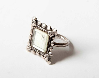 Indian mirror ring silver US size 9