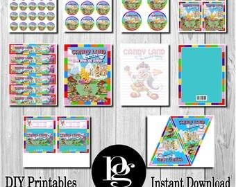 Candyland Party Supplies | Candyland Party Decorations | Candyland Party Package | Candyland Labels | Candyland Printables | DIY Candyland