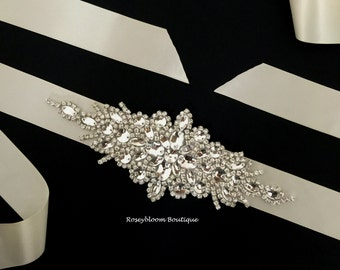Sale Wedding Sash-Sale Rhinestone Sash-Sale Bridal Sash-Sale Dress Belt-Dress Sash-Crystal Sash-Applique Sash-Rhinestone Pearl Applique Sash