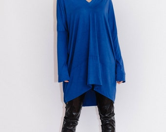 Oversized tunic/ plus size tunic/ Black tunic/ Blue tunic/ Loose fit tunic/ maternity tunic/ oversized top/ unique top