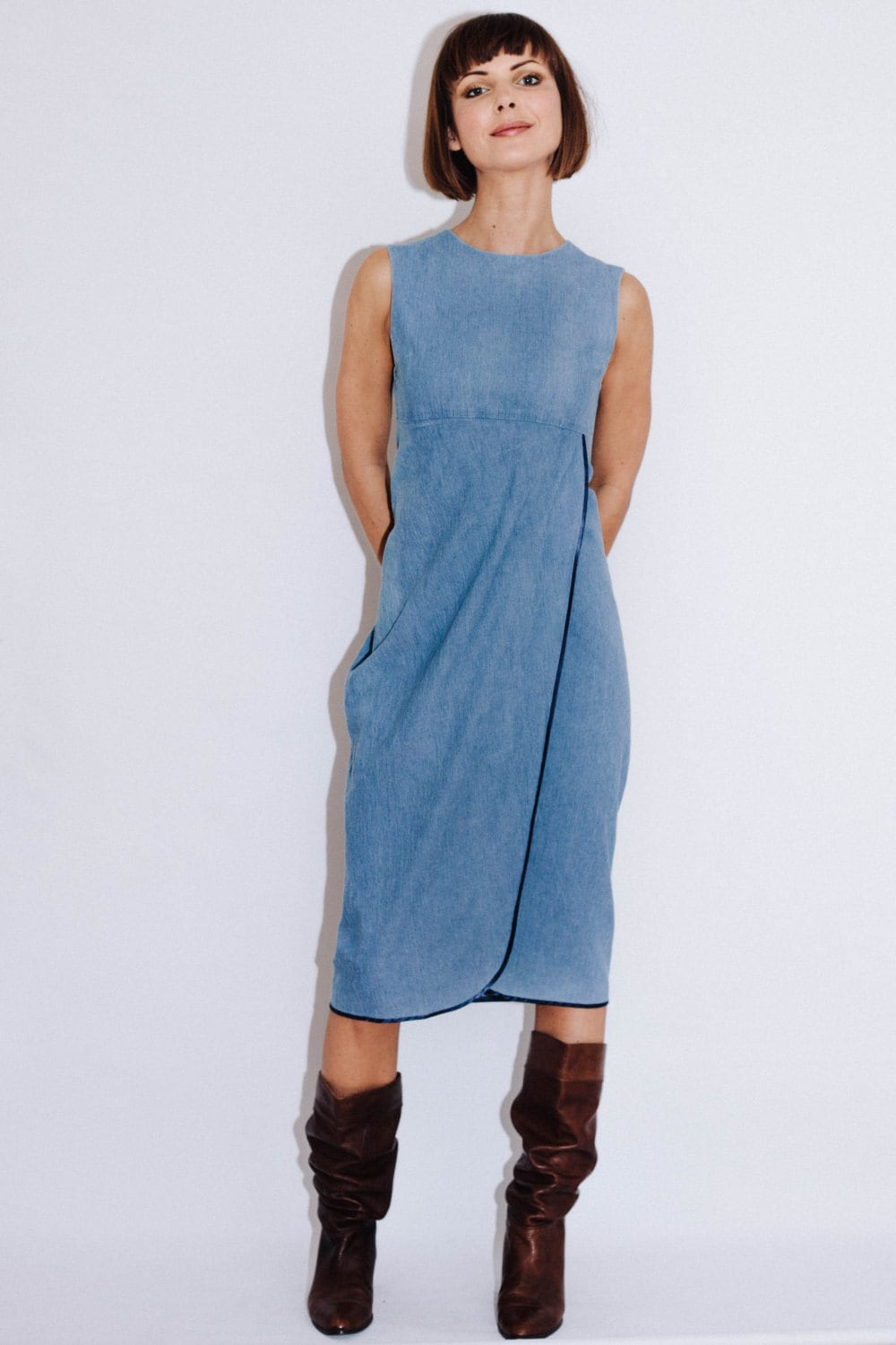 Wrap Dress Denim Dress Casual Dress Unique Dress Midi