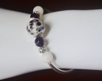 Amethyst and Moonstone and Sterling Silver Bangle Bracelet