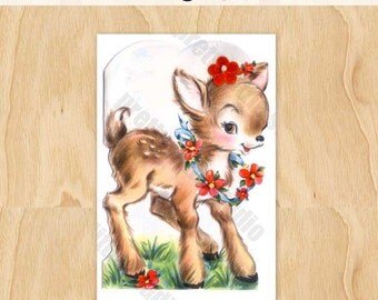 Deer with Flower Garland Woodland Fawn Vintage Digital Image Download Greeting Card 1950's