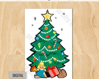 Digital | Christmas Tree | Vintage Image Download Greeting Card