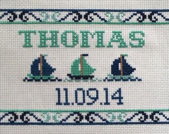Cross Stitch Kit: Sail Boats Birth Sampler