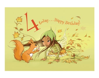 Make a Wish, Nuxi! Age 4 Fairy Girl with Squirrel