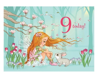 Spring's Coming, Bunny! Age 9 Fairy with bunny