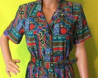 1980s Geometric Belted Dress, M