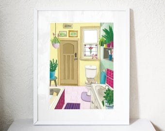 Bathroom art print printed on giclee paper with archival inks