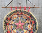 Natural dyed needle felted flower mandala wool wall hanging home decor
