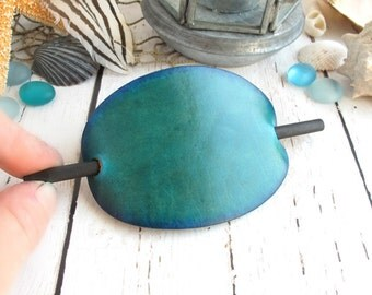 Emerald Blue Green Leather Hair Clip, Blue-Green Leather Hair Barrette, Hair Sitck, Leather Hair Clips, Turquoise Green Leather Hair Slide