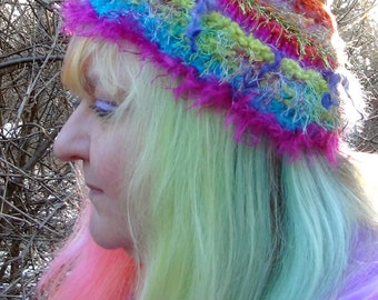 Rainbow Pixie Cap Knitted By Hand