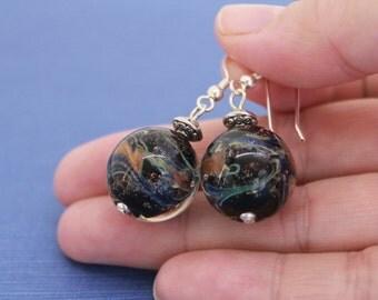Earrings, Universe Black Earrings – Dangle Earrings, Glass Lampwork Earrings, Sterling Silver Earrings, Black Glass Beads, One Of A Kind