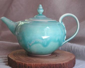 Handmade blue green ceramic teapot