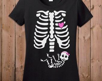 Pregnant Skeleton Shirt Pregnancy Halloween Costume Maternity Skeleton T Shirt Baby Girl Halloween Pregnancy Announcement Shirt Ladies TM-34