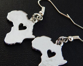 Africa Earrings African Jewelry Silver Africa Earrings Afrocentric Jewelry Dangle Shape Africa Map Cute
