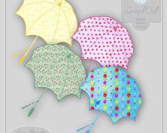 ONE DOLLAR SALE - Umbrella Clipart, Colourful Parasols, Scrapbooking Elements, Card Making, Paper Craft Supplies, Printable Images