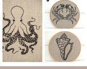 Embroidery Kit SET, modern hand embroidery kits, octopus embroidery kit, shell embroidery kit, crab embroidery kit, DIY beach theme decor