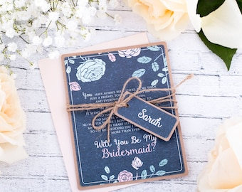 Will You Be My Maid of Honor Card  Custom Maid of Honor Matron of Honor Bridesmaid Chalkboard Card with Blush Envelope