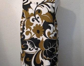Vintage Printed Wrap Apron/Tunic