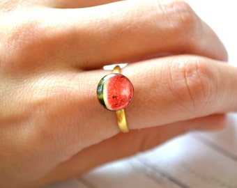 watermelon ring , watermelon jewelry , watermelon lover , fruit ring , vegan ring , summer ring , dainty fruit ring , vegan jewelry