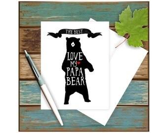 Papa Bear Card, Father's Day Card, Birthday Card for Dad, Card for Father, Bear Card, Standing Bear, Card for Him, Blank Greeting Card