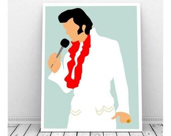 Elvis Art, Elvis Poster, Elvis Presely, Instant Download, Downloadable Art, Famous People, Music Artwork, Music Print, Elvis Baby, Aloha