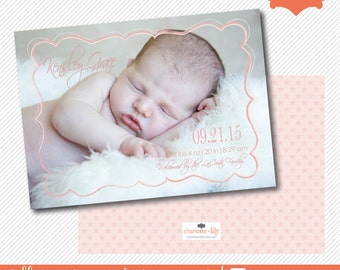 photo birth announcement with script font and stars, birth announcement, photo birth announcement, baby announcement, new baby announcement