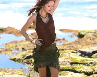 Diva Skirt, Elven Skirt, Festival Skirt, Pixie Skirt, Goa, Burning Man, Bohemian, Gypsy Skirt, Faerie, Goddess, Lace Skirt, Boho, Hippie