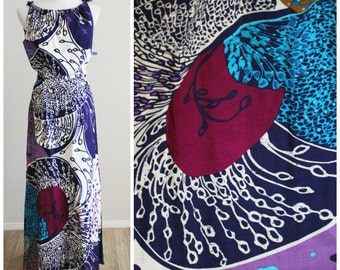 FREE SHIPPING Vintage 60's Designer Donovan Galvani Abstract Plum Barkcloth Maxi Dress Tags Medium Large