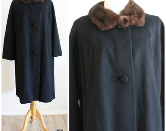 Vintage 50's 60's Lilli Ann Black Wool Swing Evening Coat with Brown Mink Fur Collar