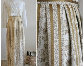 Vintage 60's 70's LANZ of California Hippie BOHO Gold Cream TAPESTRY Damask Maxi Skirt Victorian gypsy