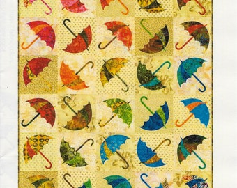 Dancing Umbrella Quilt Patten, Laundry Basket Quilts, Quilt Pattern, Appliqué Quilt Pattern, LBQ-0343