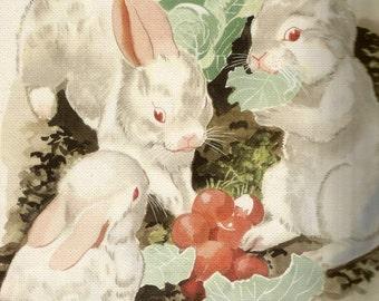 Vintage children's storybook art illustration bunny rabbits lettuce digital download printable instant image