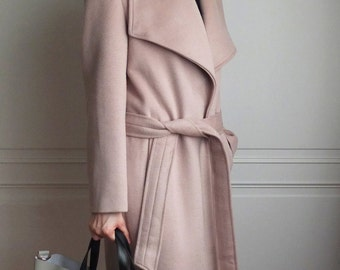 Taupe belted oversize lapel wool coat {double-face cashmere, other colours are available}
